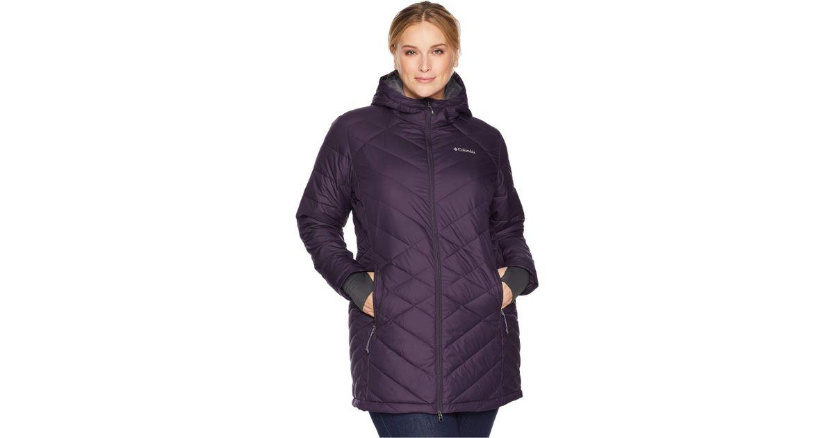 0e6850bd115 Lyst - Columbia Plus Size Heavenly Long Hooded Jacket (nocturnal) Women s  Coat in Purple