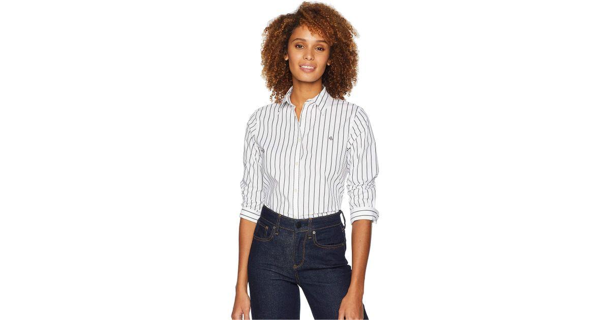 422c828ce Lyst - Lauren by Ralph Lauren No-iron Button Down Shirt in White