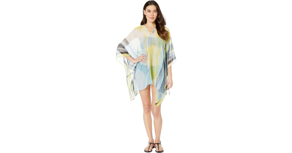 9decba0ee7 Calvin Klein Abstract Cloud Chiffon Poncho Cover-up Top (lime) Women's  Swimwear in Blue - Lyst