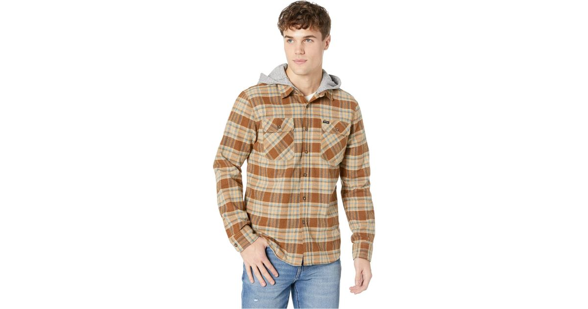 """Brixton /""""Bowery Hood/"""" Long Sleeve Flannel Men/'s Plaid Jacket Copper//Natural"""