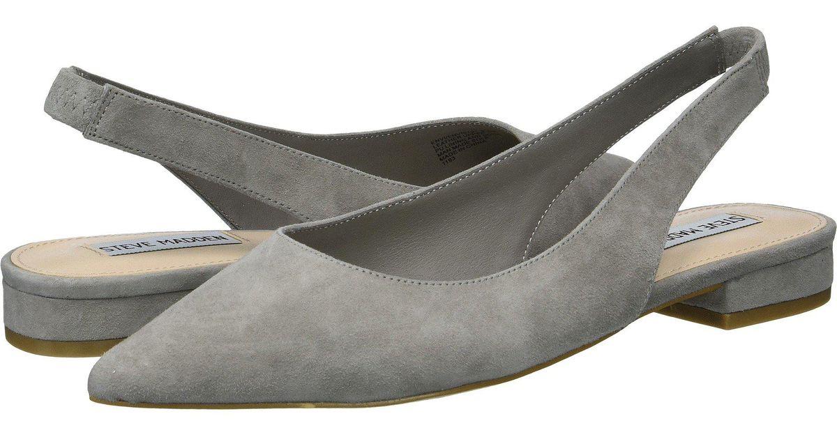 5c0c58d98ce Steve Madden Gray Envi Slingback Flat (taupe Suede) Women's Sling Back Shoes