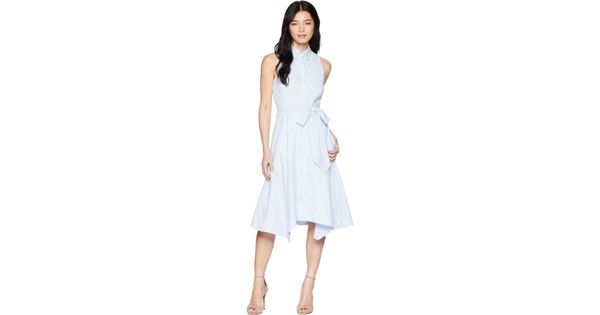 Tahari Cotton Petite Seersucker Shirtdress Blue White Women S