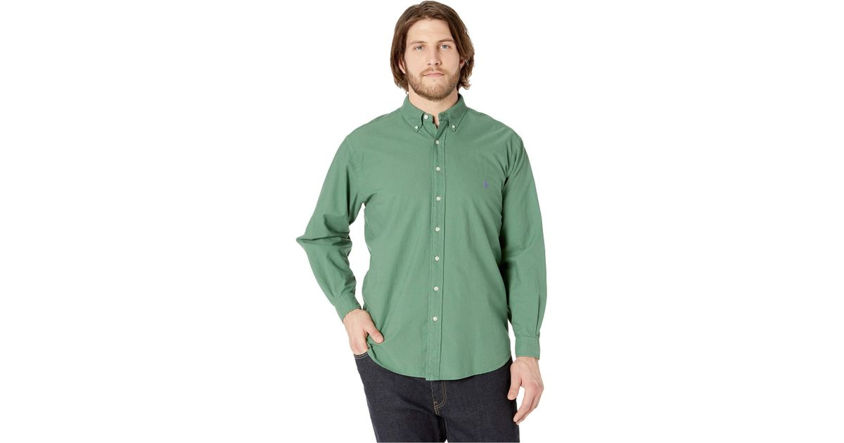 a5a60934 Polo Ralph Lauren Big Tall Solid Garment Dyed Oxford Long Sleeve Classic Fit  Sports Shirt (bastille Blue) Men's Coat in Green for Men - Lyst
