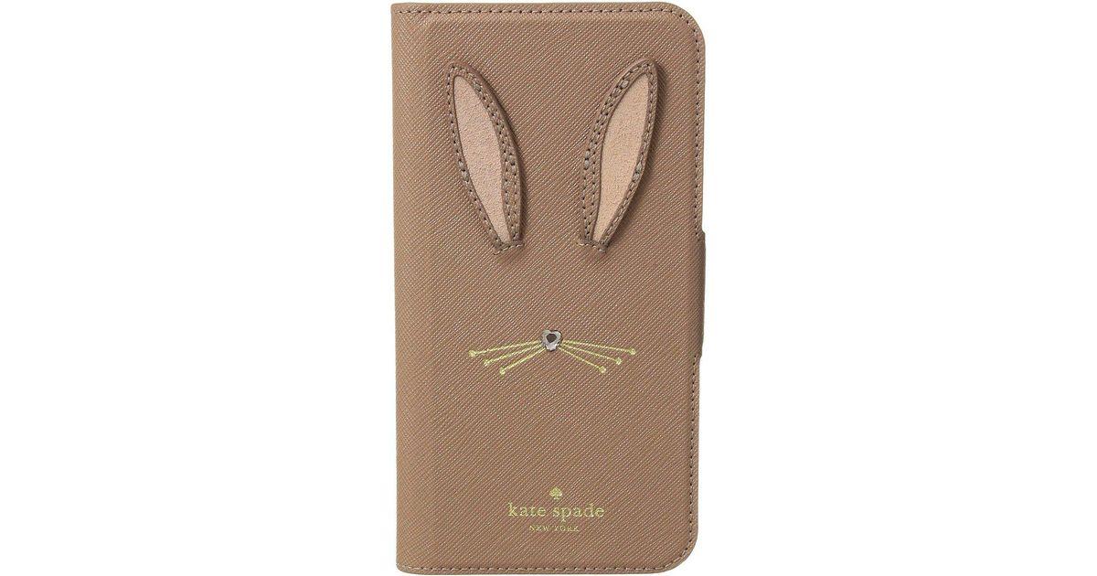 the latest 326c9 76926 Kate Spade Multicolor Rabbit Applique Folio Phone Case For Iphone X