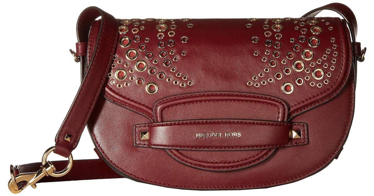 aa61ce36b22a MICHAEL Michael Kors Cary Medium Saddle Bag (oxblood) Bags - Lyst