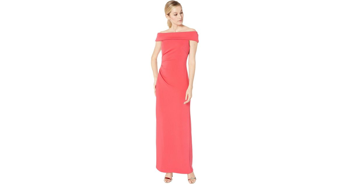 b49a203f174 Vince Camuto Off The Shoulder Gown W/ Side Tucks in Pink - Save 28% - Lyst