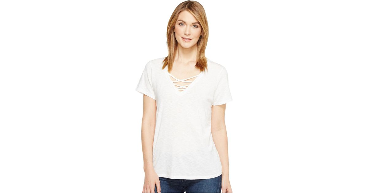 d9dc445b5 Lyst - Michael Stars Supima Cotton Slub Short Sleeve Lace-up Tee (white)  Women's T Shirt in White - Save 46%