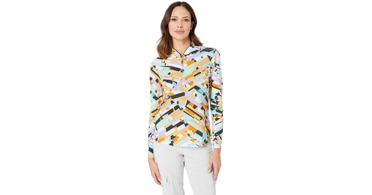Jamie Sadock Womens Sunsense/¿ 50 UVP 1//4 Zip Long Sleeve Top with Shattered Print