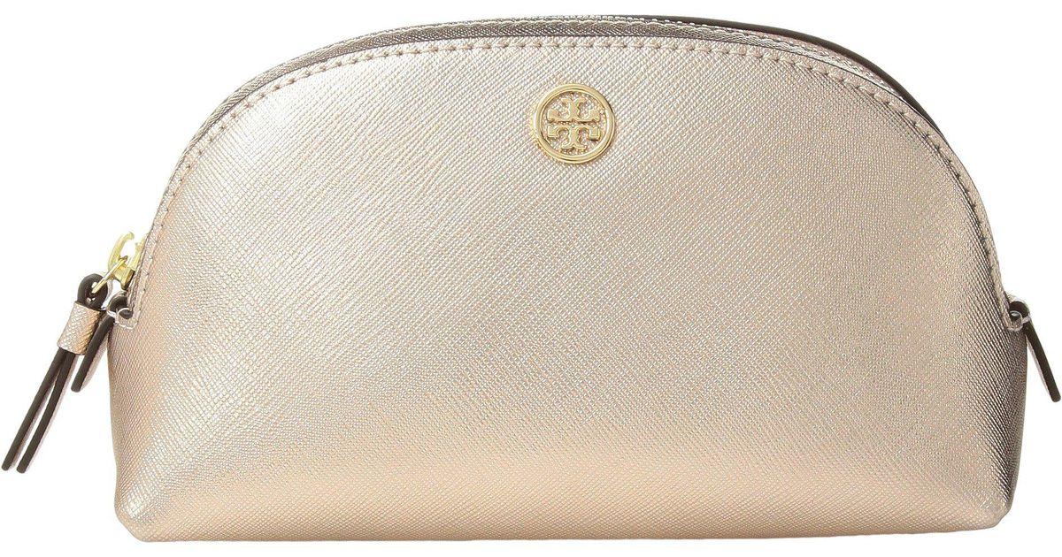 Tory Burch Robinson Metallic Small Makeup Bag Light Rose Gold Cosmetic Case