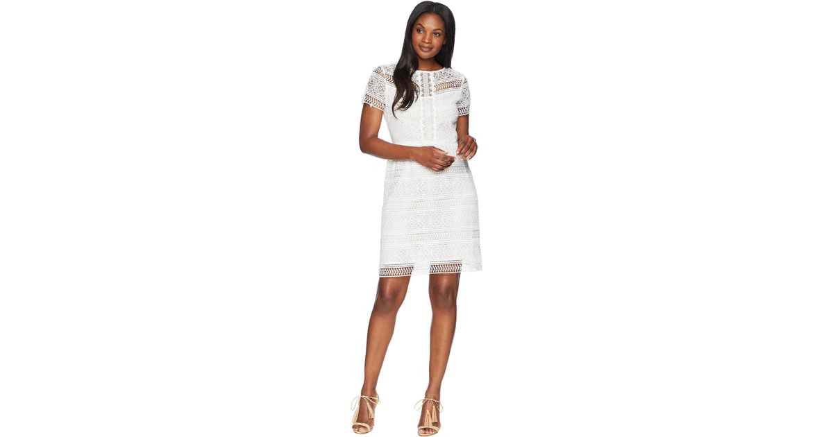 272723534c82 Tahari Short Sleeve Chemical Lace Fit And Flare Dress (white) Dress in  White - Save 29% - Lyst
