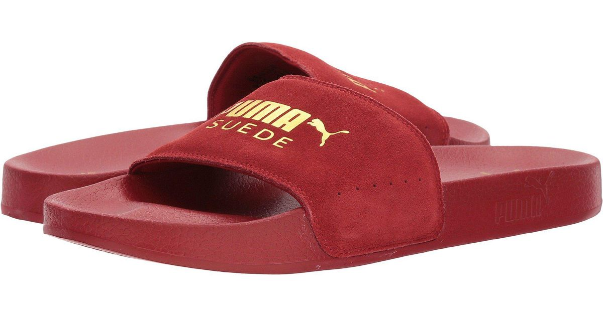 Lyst - PUMA Leadcat Suede (red Dahlia  Team Gold) Men s Slide Shoes in Red 0095fe41d