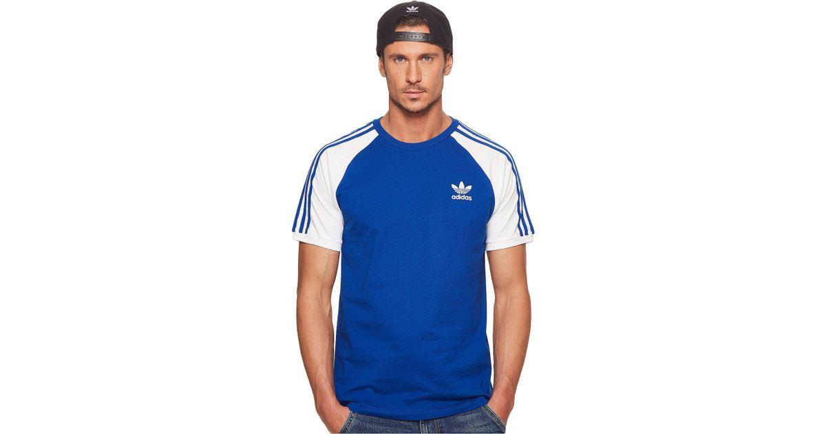 e86a8e2344 adidas Originals 3-stripes Tee in Blue for Men - Lyst
