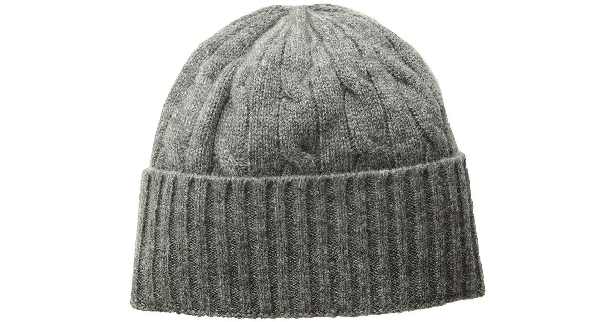 02afba985d2283 Polo Ralph Lauren Cashmere Classic Cable Hat (antique Heather) Beanies in  Gray - Lyst
