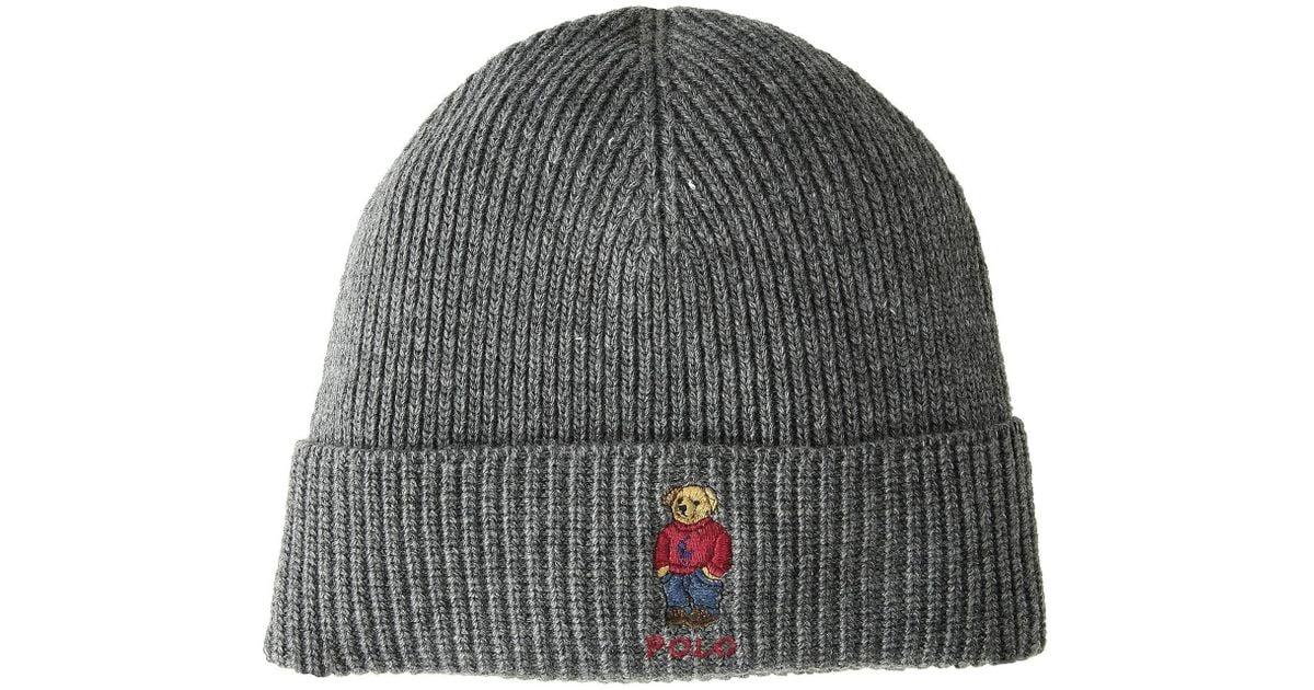 77e31a93 Polo Ralph Lauren Gray Polo Pony Bear Hat (grey) Beanies for men