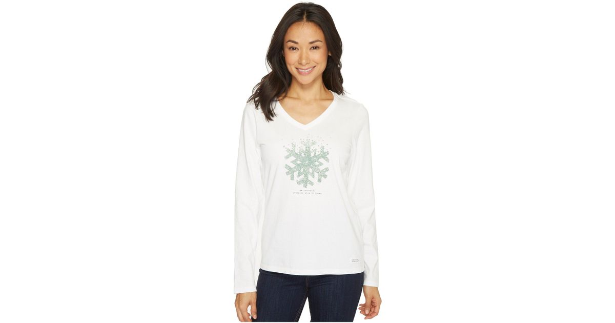 Life is Good Womens Hearts Long Sleeve Crusher Vee