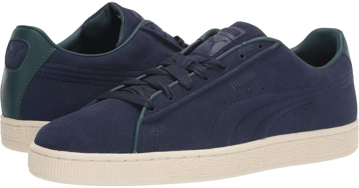 PUMA SUEDE CLASSIC Raised Formstripe Mens Blue Suede Low Top Sneakers Shoes