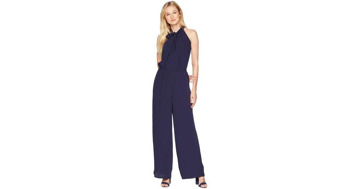 c1260fd62808 Lyst - Cece Tie Neck Crepe Jumpsuit in Blue - Save 55%