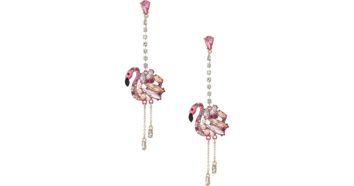 224fe981ce3e6 Betsey Johnson Pink And Rose Gold Linear Drop Flamingo Earrings