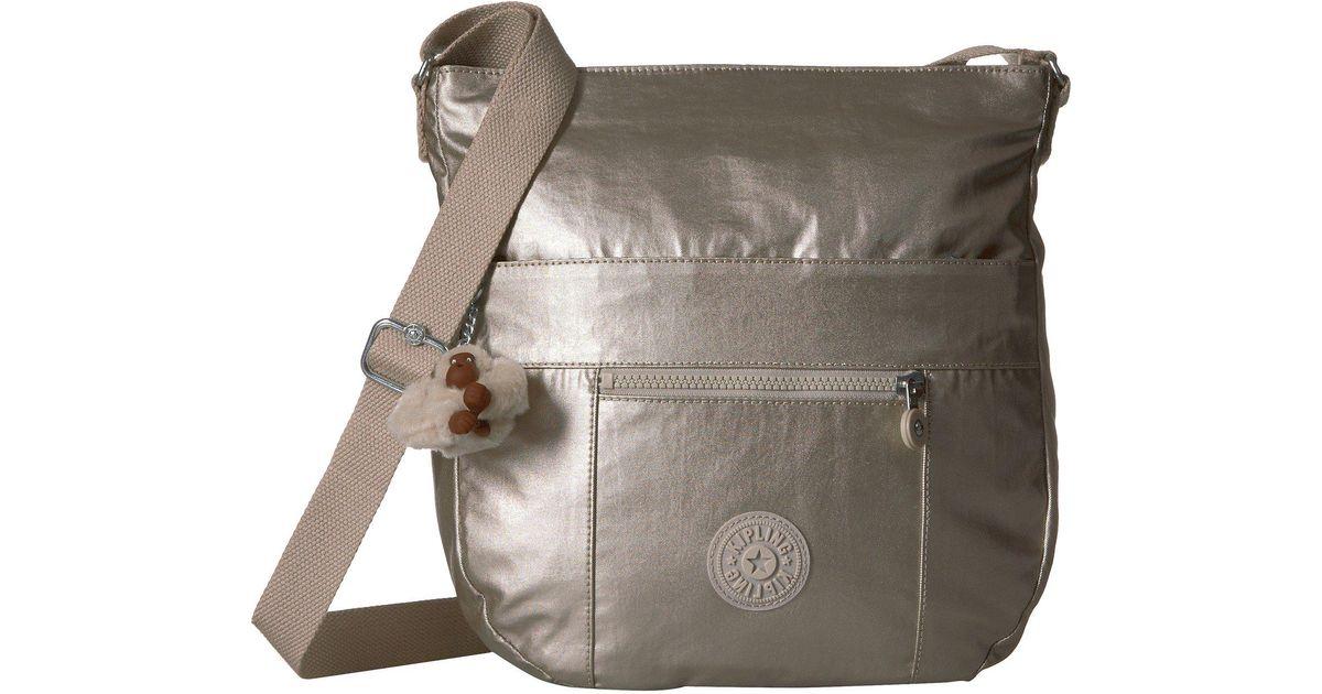 Lyst Kipling Bailey Saddle Bag Handbag Silver Grey Metallic Handbags In Gray