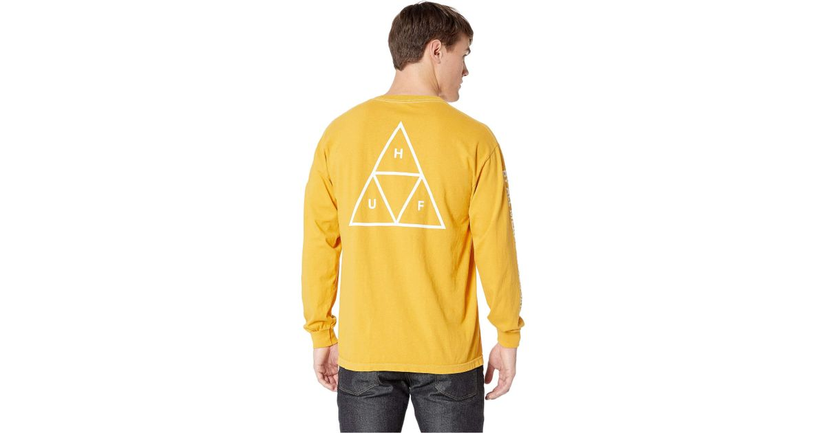 53b218318f Huf The Essentials Long Sleeve In Mineral Yellow for men