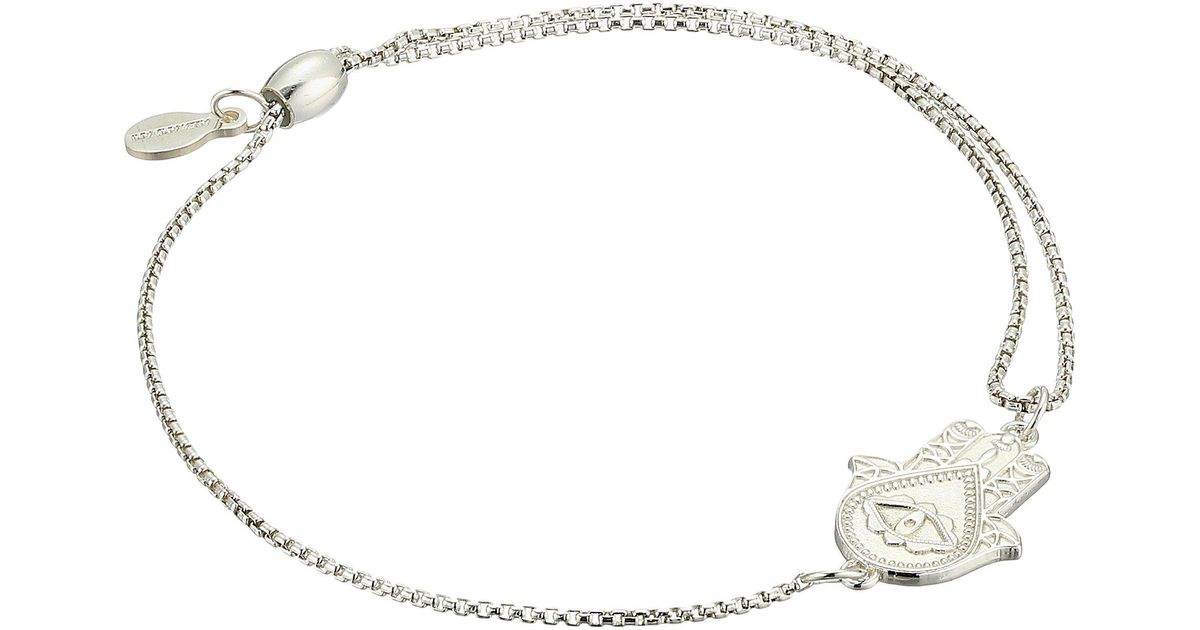 Lyst Alex And Ani Pull Chain Hand Of Fatima Bracelet Sterling Silver In Metallic