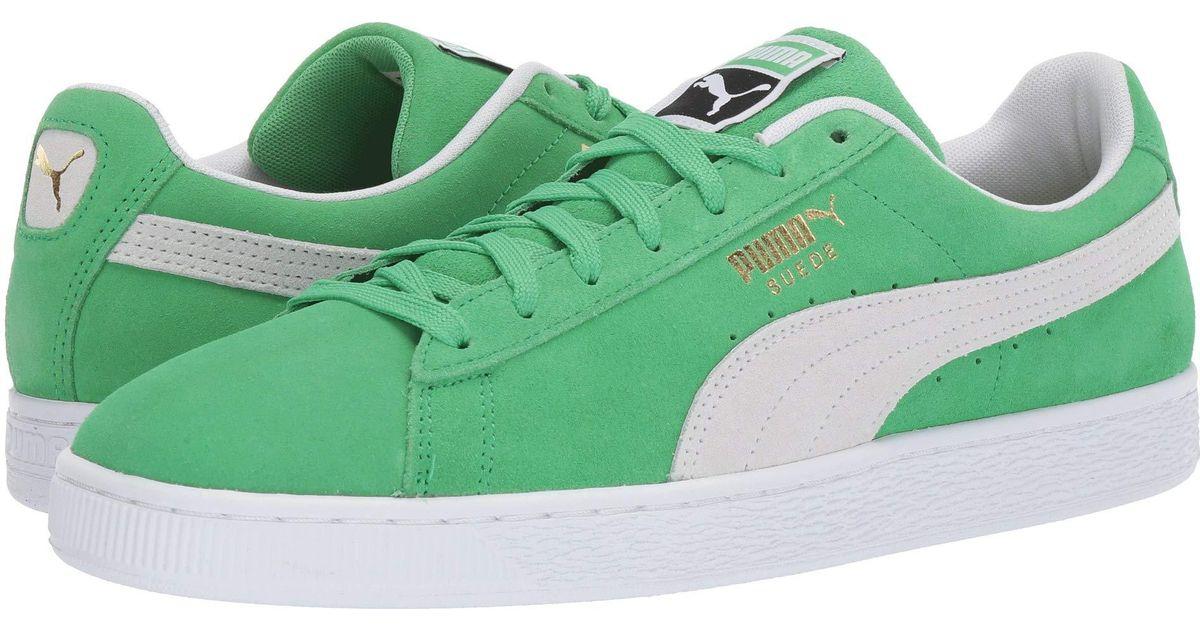 sports shoes a14b3 51587 PUMA Green Suede Classic ( Black/orange Pop) Shoes