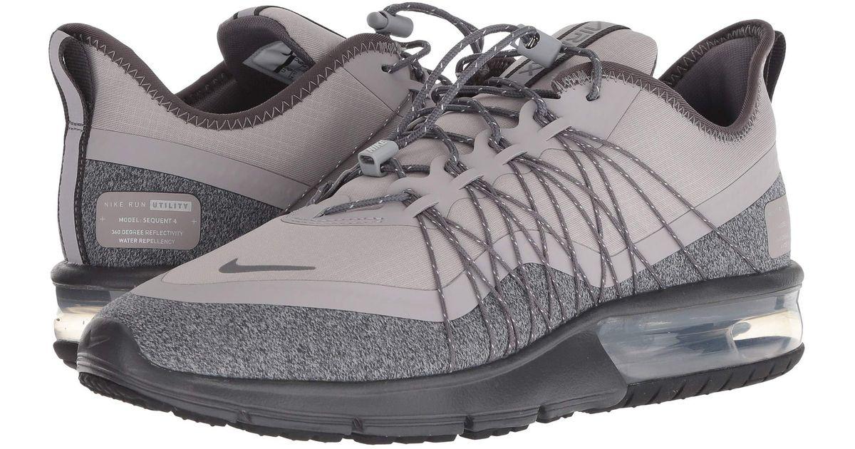que buen look seleccione para mejor mayor selección de Nike Air Max Sequent 4 Utility Running Shoe in Black/ Silver/ Dark Grey for  Men Lyst Black