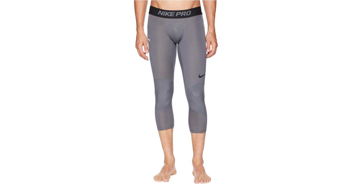 """Nike Mens Pro Dri-Fit Dry 23/"""" Basketball 3QT Tight Pants Dark Grey New"""