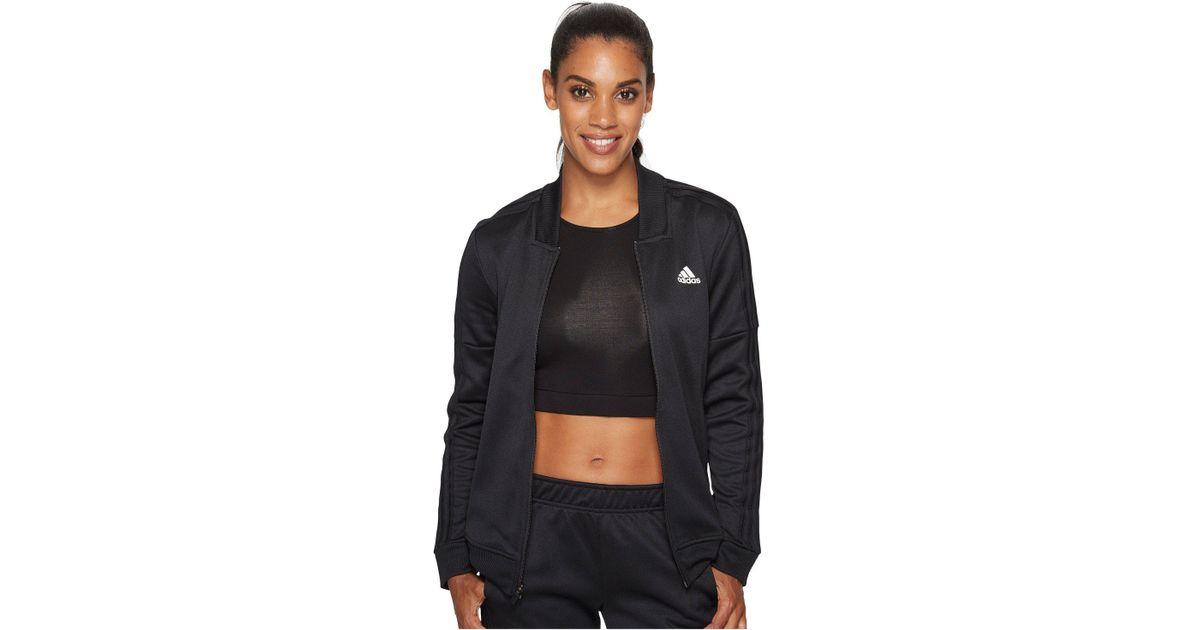 c422c1185c5 adidas Tricot Snap Track Jacket (black/white) Jacket in Black - Lyst