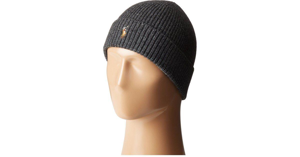 Lyst - Polo Ralph Lauren Signature Merino Cuff Hat (dark Brown Heather)  Caps for Men 0346f3b7b524