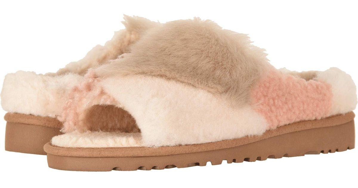 7b291c92cd5 Ugg Brown Patchwork Fluff Slide (chestnut) Women's Slip On Shoes