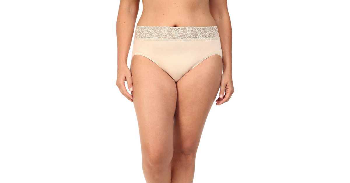 e14eb4e9e Hanky Panky Plus Size Organic Cotton Signature Lace French Brief (black)  Women s Underwear in Natural - Lyst