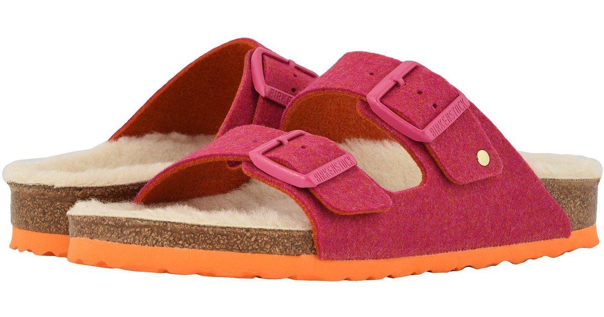 26398f49bb7 Lyst - Birkenstock Arizona Wool (doubleface Orange) Women s Shoes