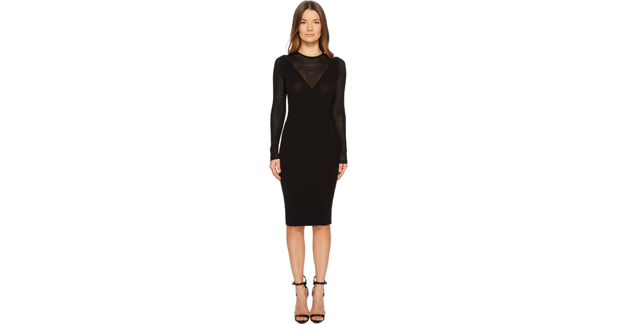 buy online b957d ae124 Versace Black Abito Maglia Donna Long Sleeve Dress