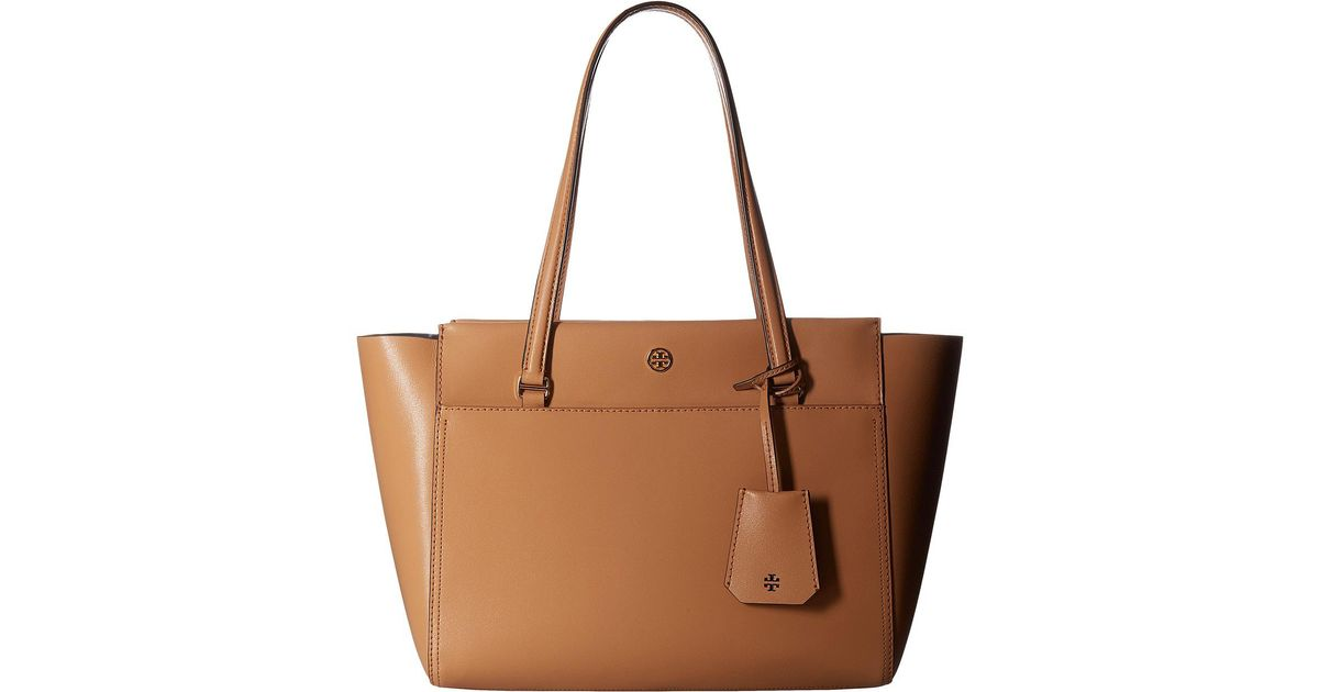 7bcbc4828cc Lyst - Tory Burch Parker Small Tote in Brown