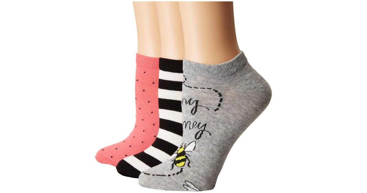0a3fd5b2b6e2 Lyst - Kate Spade A Buzz 3-pack No Show Socks in Gray