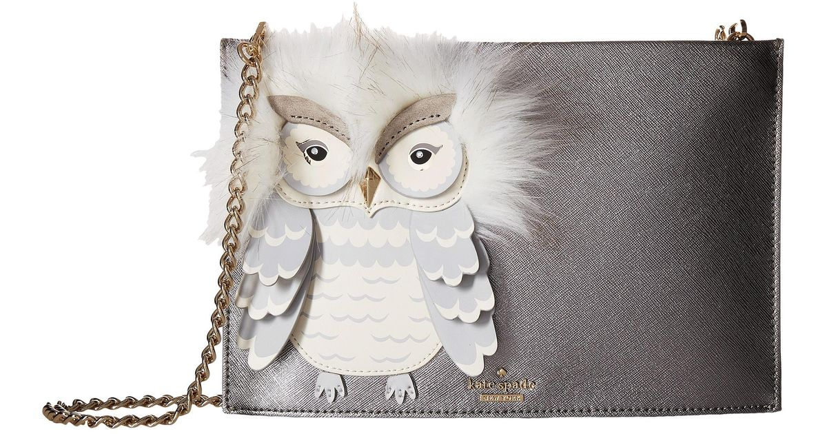 NWT Kate Spade New York Star Bright Owl Sima Faux-Fur-Trimmed Cross-Body Bag