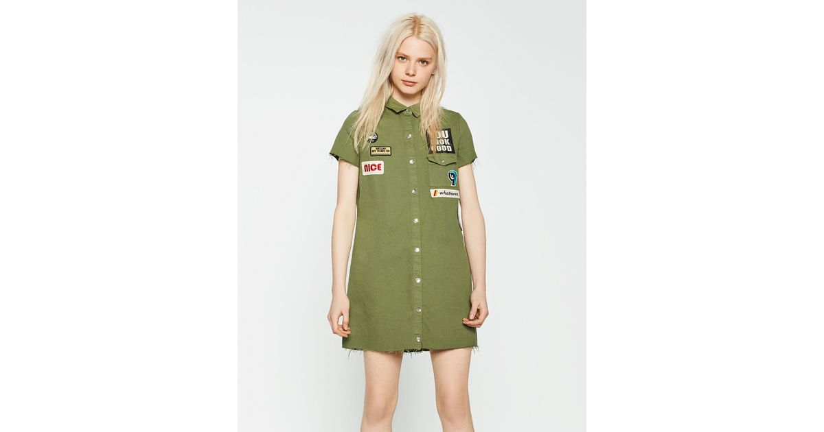 Zara patch shirt dress in green lyst for Zara black t shirt dress