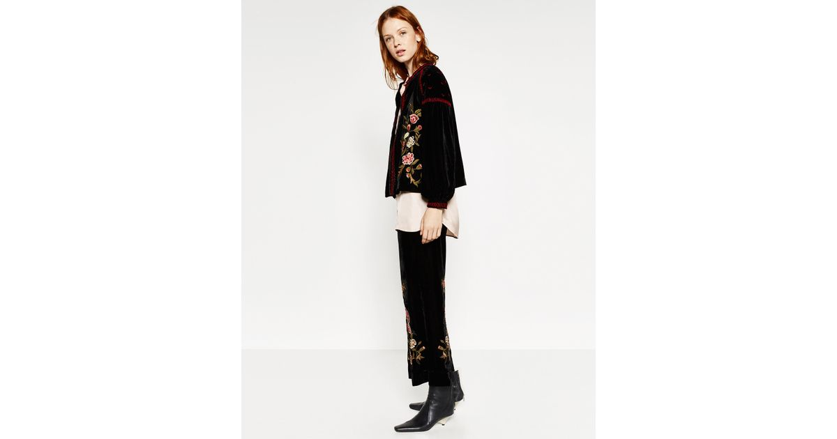 Zara Embroidered Velvet Jacket In Multicolor  Lyst