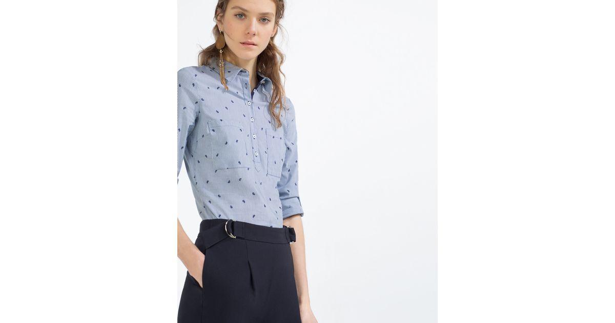 Zara striped poplin shirt in multicolour lyst for Zara mens shirts sale