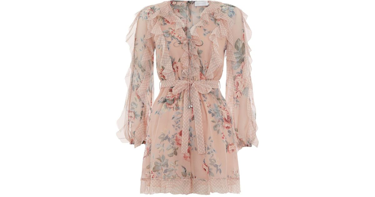 748df9ccd69 Lyst - Zimmermann  bowie Frill  Belted Ruffle Floral Print Silk Rompers in  Pink - Save 32%