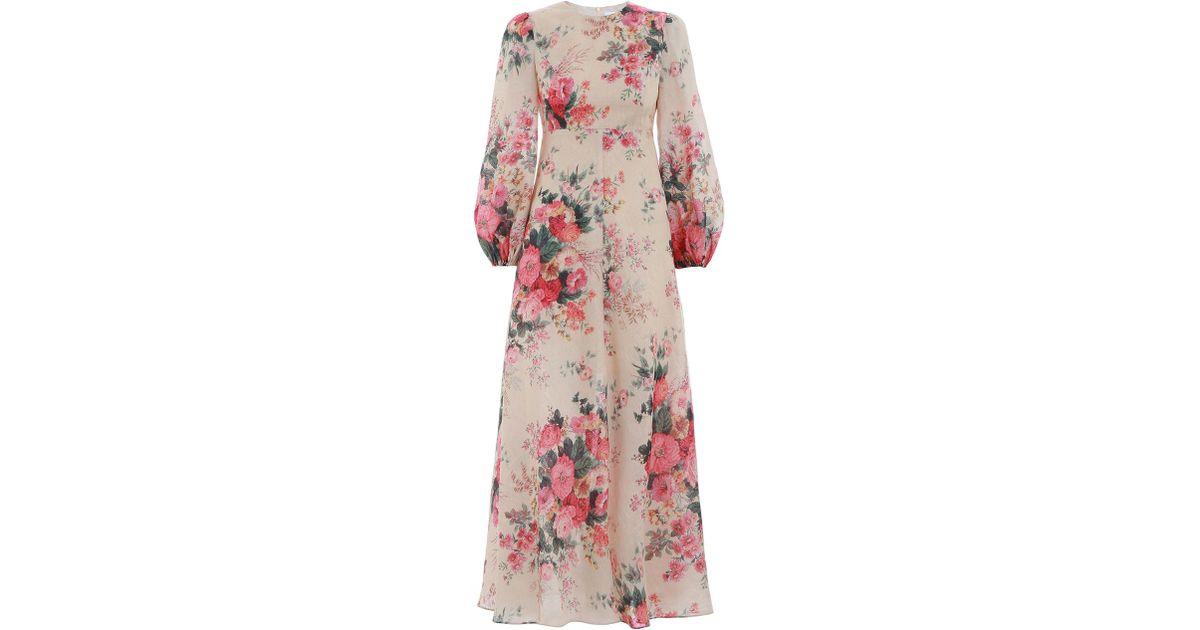 Zimmermann Laelia Floral High Neck Bell Sleeve Maxi Full Long Dress 0 1 2