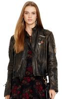 Polo Ralph Lauren Distressed Leather Moto Jacket - Lyst