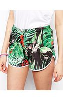 Asos Tropical Printed Shorts with Dolphin Hem - Lyst