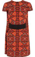 Alexander McQueen Printed Woolcrepe Dress - Lyst