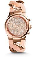 Michael Kors Runway Twist Rose Goldtone Stainless Steel Watch - Lyst