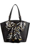 DKNY Saffiano Leather Shopper with Scarf - Lyst