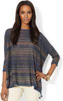 Lauren by Ralph Lauren Dolmansleeve Striped Poncho Sweater - Lyst