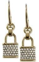 Michael Kors Goldtone Pavé Padlock Charm Drop Earrings - Lyst