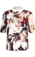 River Island Black Floral Print Contrast Collar Top - Lyst